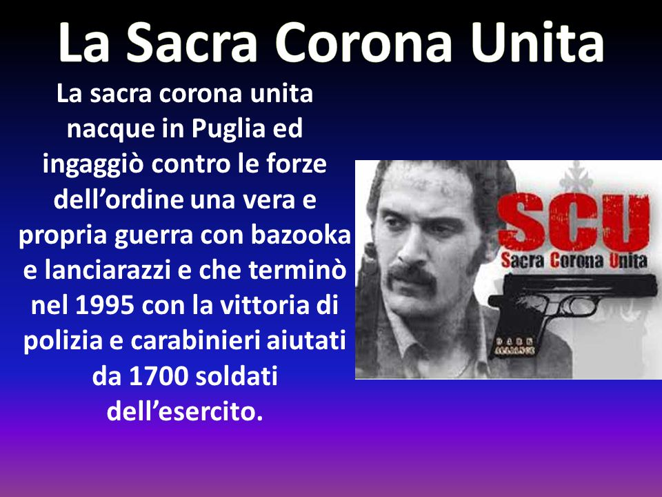 La Camorra, come la 'Ndrangheta, nacque nell'Ottocento in Campania, ma in città. Inizialmente si occupava del taglieggiare i carcerati delle prigioni