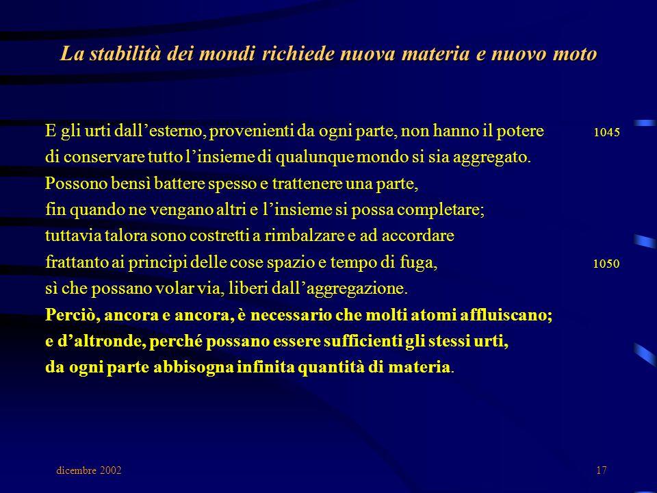 dicembre 200217 La stabilità dei mondi richiede nuova materia e nuovo moto E gli urti dall'esterno, provenienti da ogni parte, non hanno il potere 1045 di conservare tutto l'insieme di qualunque mondo si sia aggregato.