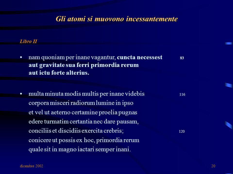 dicembre 200220 Gli atomi si muovono incessantemente Libro II nam quoniam per inane vagantur, cuncta necessest 83 aut gravitate sua ferri primordia rerum aut ictu forte alterius.