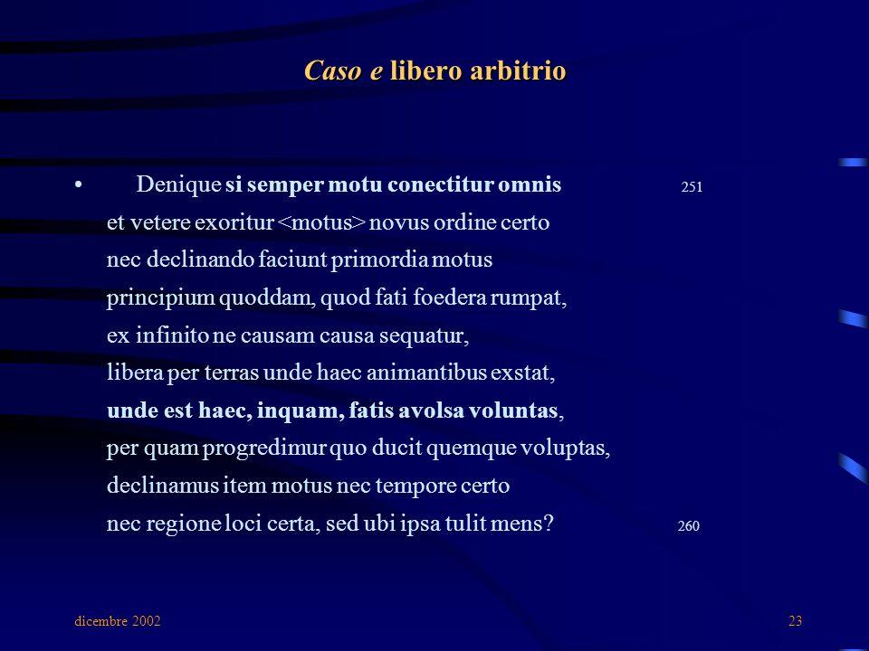 dicembre 200223 Caso e libero arbitrio Denique si semper motu conectitur omnis 251 et vetere exoritur novus ordine certo nec declinando faciunt primor