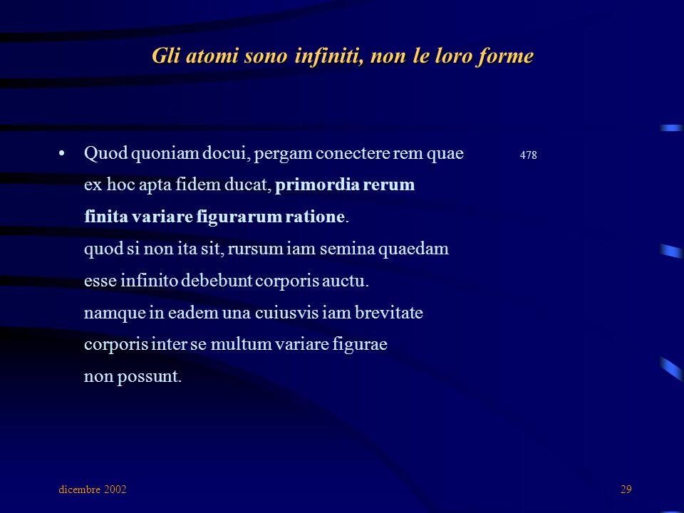 dicembre 200229 Gli atomi sono infiniti, non le loro forme Quod quoniam docui, pergam conectere rem quae 478 ex hoc apta fidem ducat, primordia rerum finita variare figurarum ratione.
