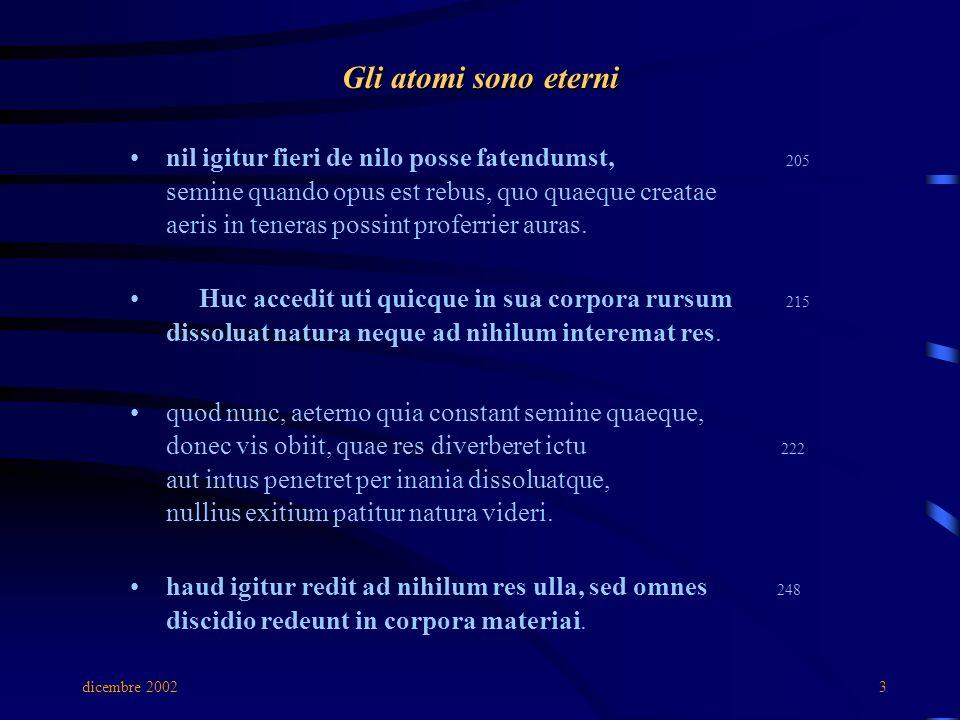 dicembre 20023 Gli atomi sono eterni nil igitur fieri de nilo posse fatendumst, 205 semine quando opus est rebus, quo quaeque creatae aeris in teneras possint proferrier auras.