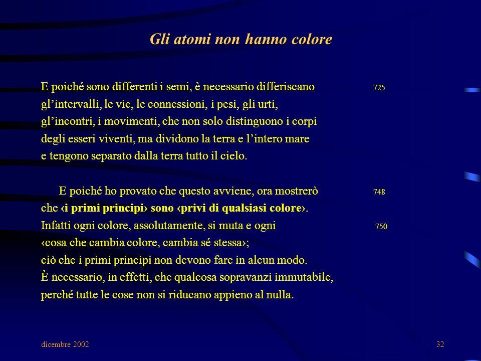 dicembre 200232 Gli atomi non hanno colore E poiché sono differenti i semi, è necessario differiscano 725 gl'intervalli, le vie, le connessioni, i pes