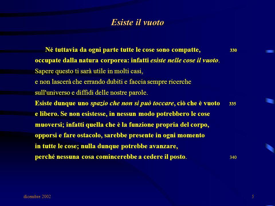 dicembre 20025 Esiste il vuoto Né tuttavia da ogni parte tutte le cose sono compatte, 330 occupate dalla natura corporea: infatti esiste nelle cose il vuoto.