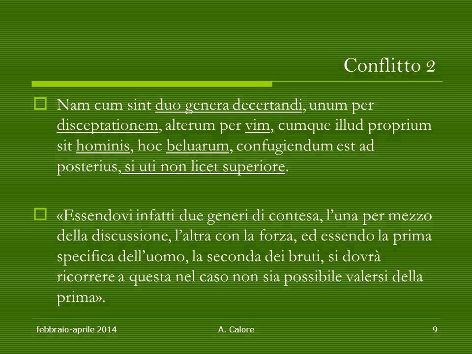 febbraio-aprile 2014 A. Calore9 Conflitto 2  Nam cum sint duo genera decertandi, unum per disceptationem, alterum per vim, cumque illud proprium sit