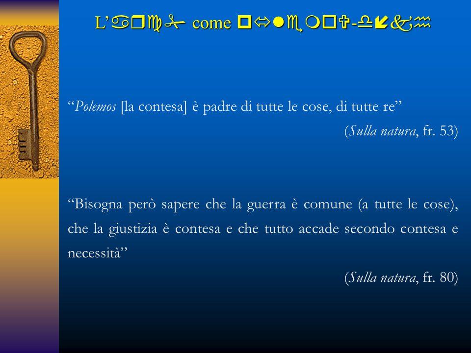 """""""Polemos [la contesa] è padre di tutte le cose, di tutte re"""" (Sulla natura, fr. 53) """"Bisogna però sapere che la guerra è comune (a tutte le cose), che"""