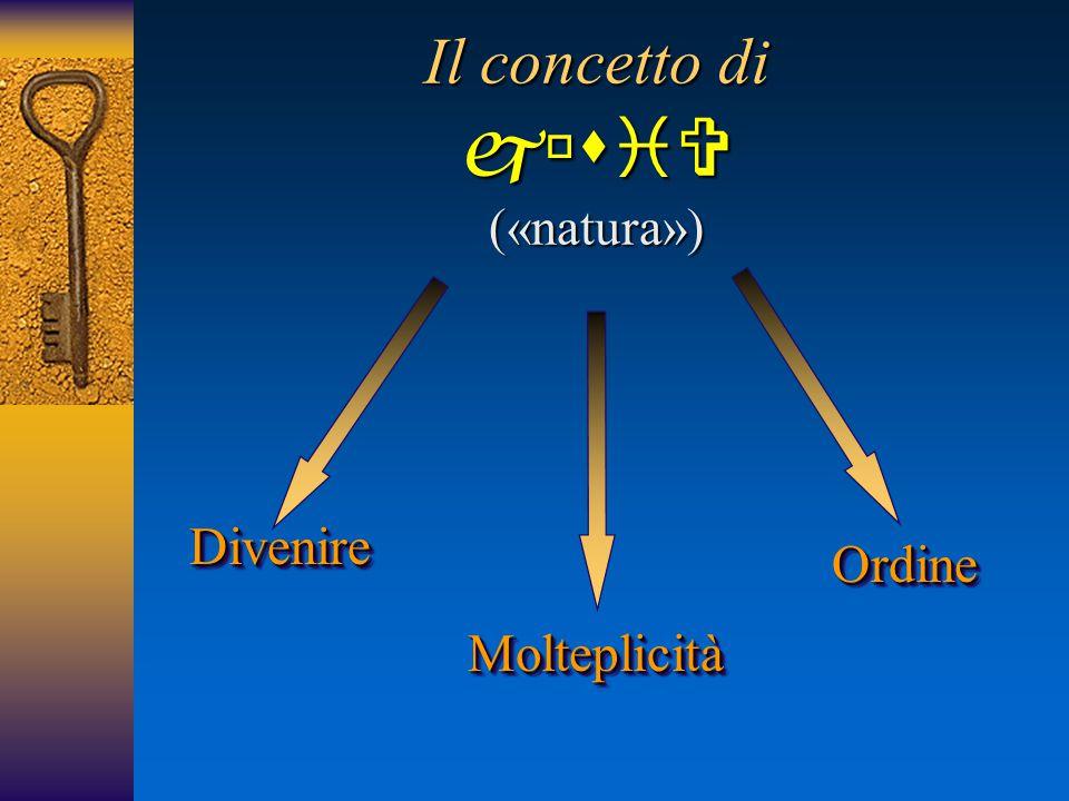 1.Evidenza originaria La  (natura) intesa come Totalità diveniente 2.