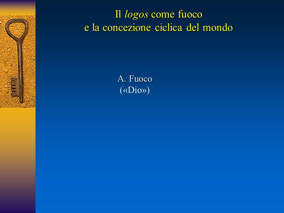 A.Fuoco A. Fuoco («Dio») Il logos come fuoco e la concezione ciclica del mondo