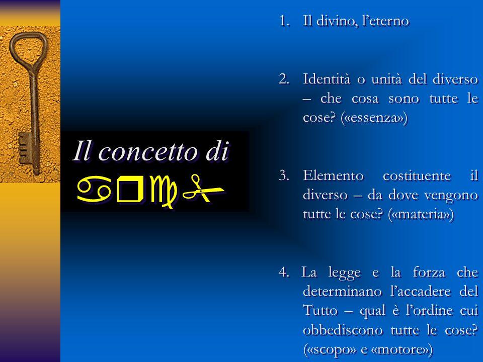 Il concetto di  1.Il divino, l'eterno 2.Identità o unità del diverso – che cosa sono tutte le cose? («essenza») 3.Elemento costituente il diverso
