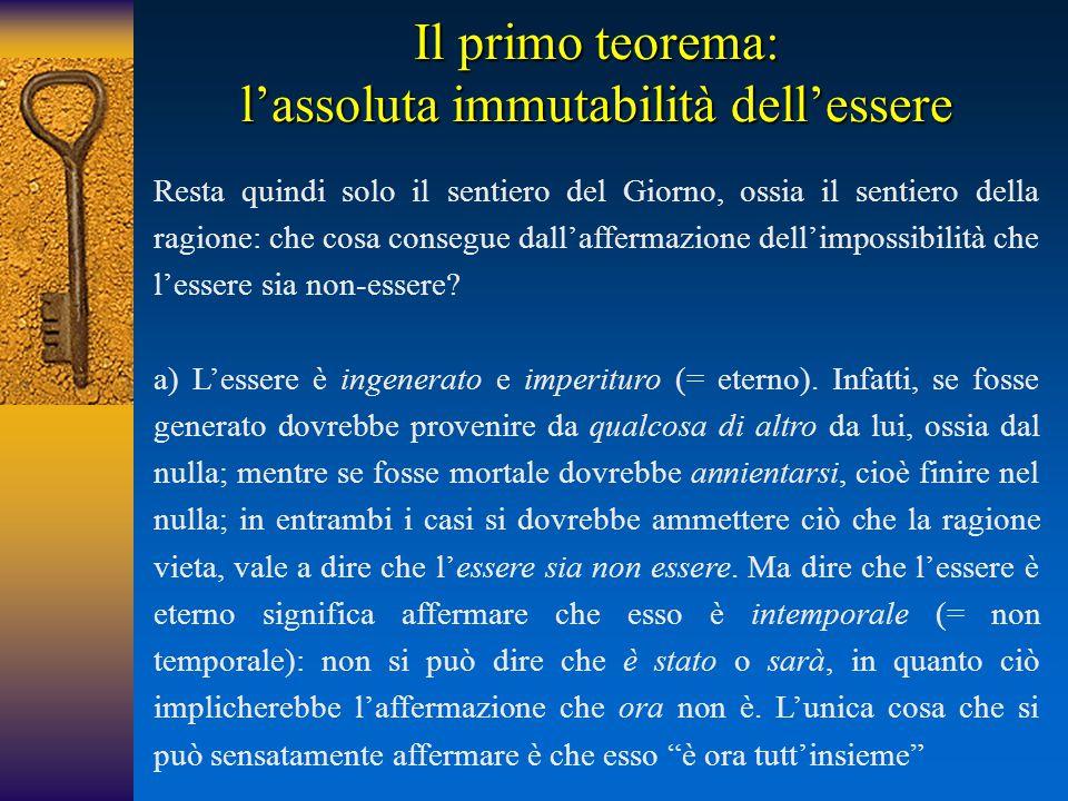 Il primo teorema: l'assoluta immutabilità dell'essere Resta quindi solo il sentiero del Giorno, ossia il sentiero della ragione: che cosa consegue dal