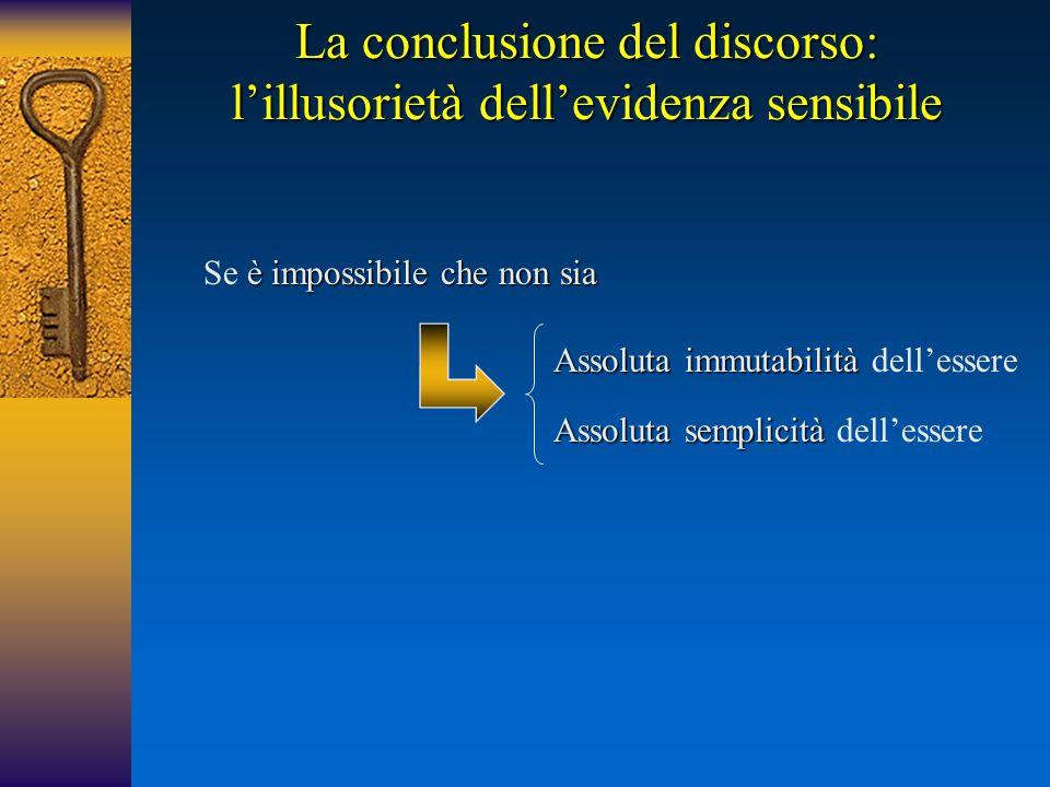 La conclusione del discorso: l'illusorietà dell'evidenza sensibile è impossibile che non sia Se è impossibile che non sia Assoluta immutabilità Assolu