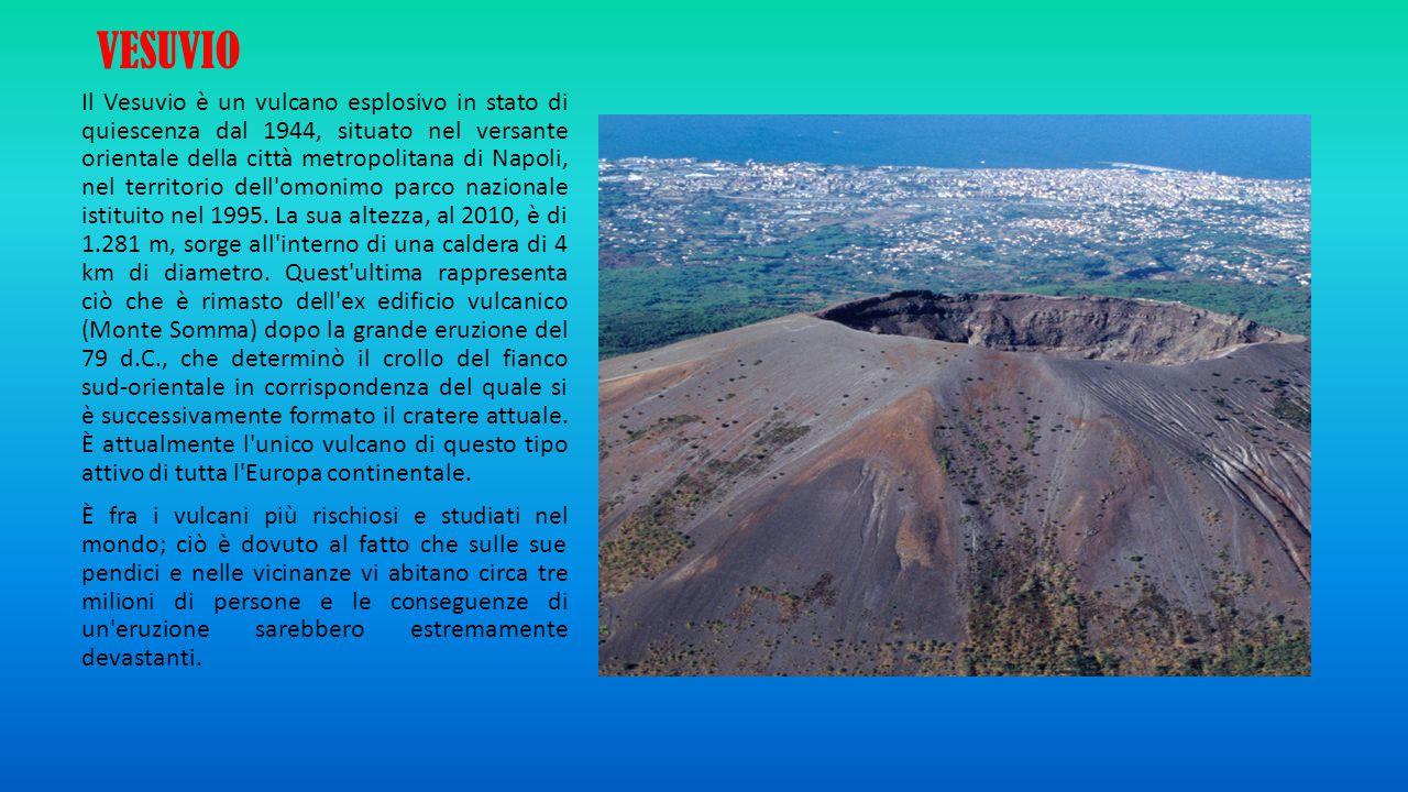 VESUVIO Il Vesuvio è un vulcano esplosivo in stato di quiescenza dal 1944, situato nel versante orientale della città metropolitana di Napoli, nel ter