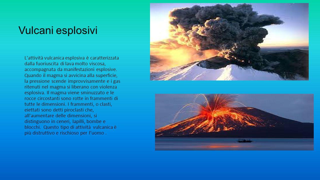 Vulcani esplosivi L'attività vulcanica esplosiva è caratterizzata dalla fuoriuscita di lava molto viscosa, accompagnata da manifestazioni esplosive. Q