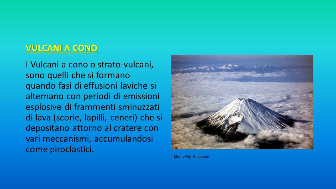 VULCANI A CONO I Vulcani a cono o strato-vulcani, sono quelli che si formano quando fasi di effusioni laviche si alternano con periodi di emissioni es