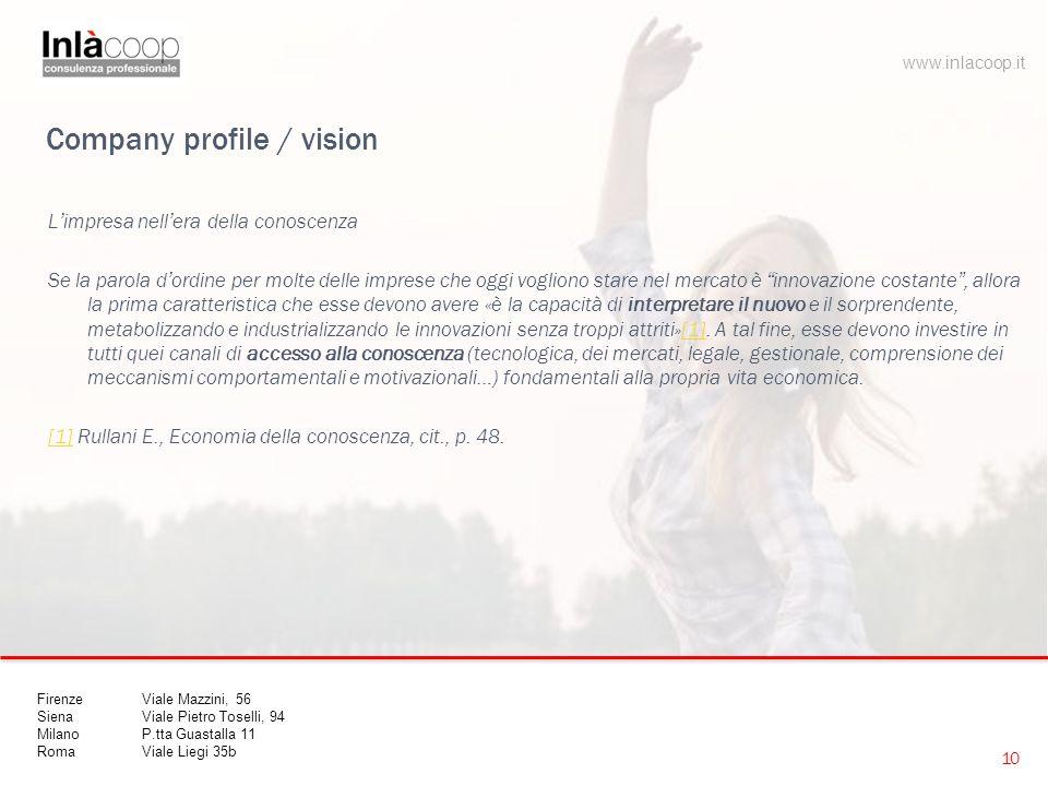 """Company profile / vision L'impresa nell'era della conoscenza Se la parola d'ordine per molte delle imprese che oggi vogliono stare nel mercato è """"inno"""
