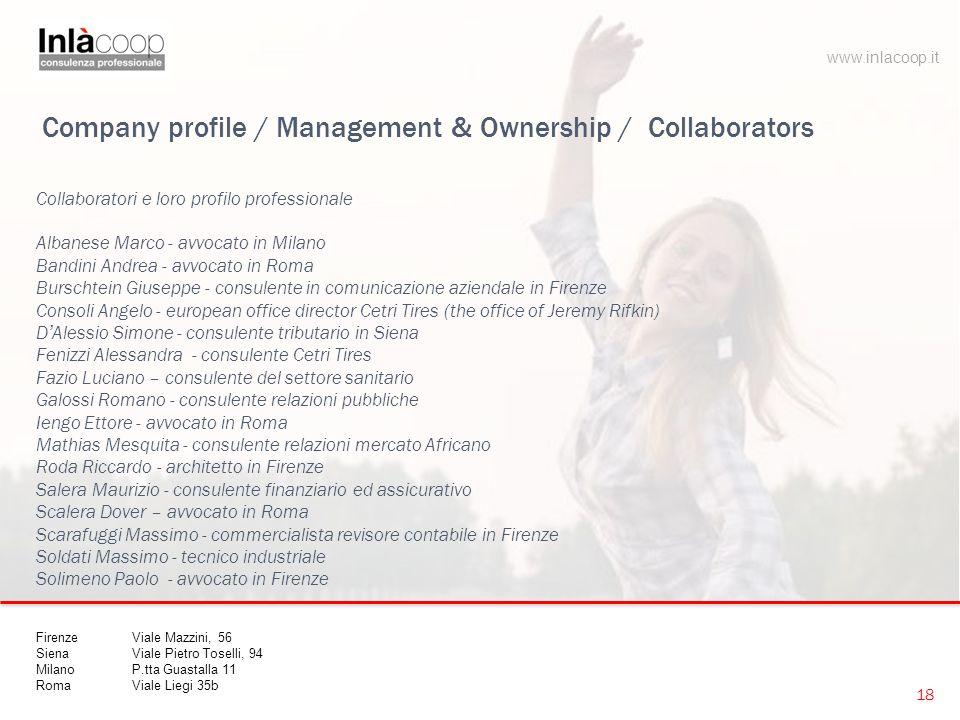 Company profile / Management & Ownership / Collaborators Collaboratori e loro profilo professionale Albanese Marco - avvocato in Milano Bandini Andrea