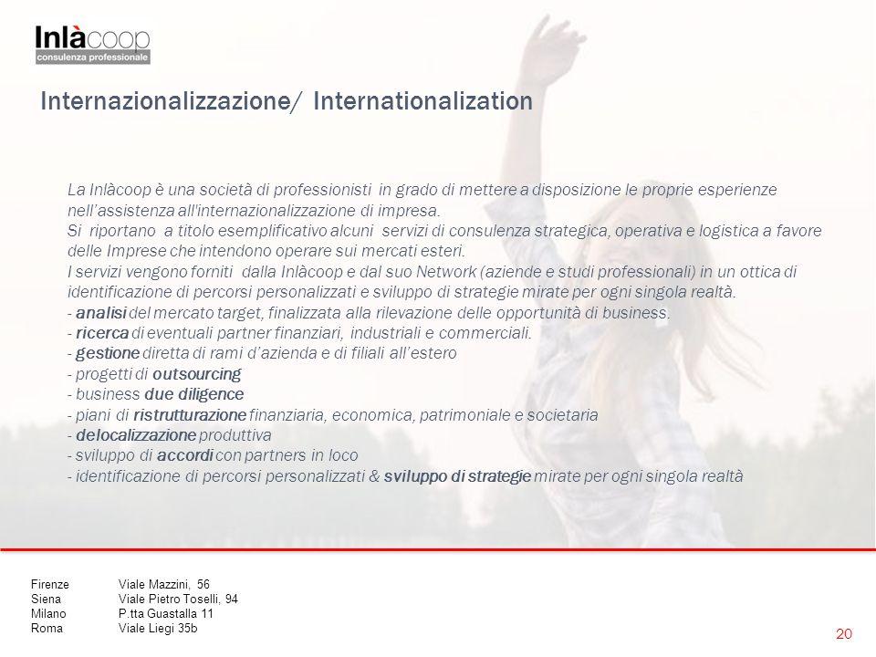 Internazionalizzazione/ Internationalization La Inlàcoop è una società di professionisti in grado di mettere a disposizione le proprie esperienze nell'assistenza all internazionalizzazione di impresa.