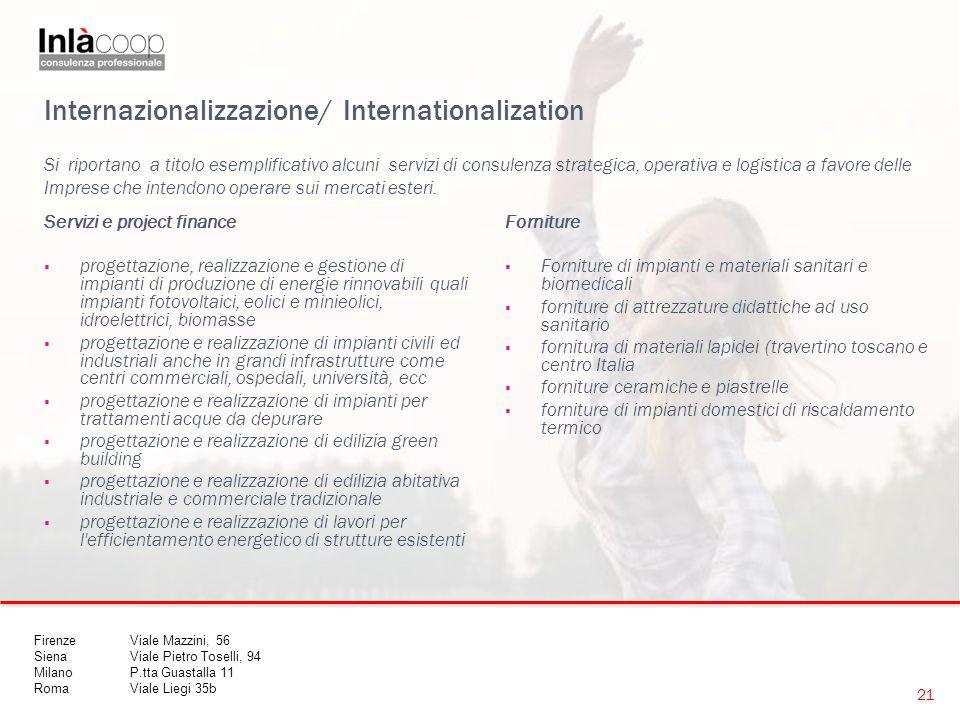 Internazionalizzazione/ Internationalization Servizi e project finance  progettazione, realizzazione e gestione di impianti di produzione di energie