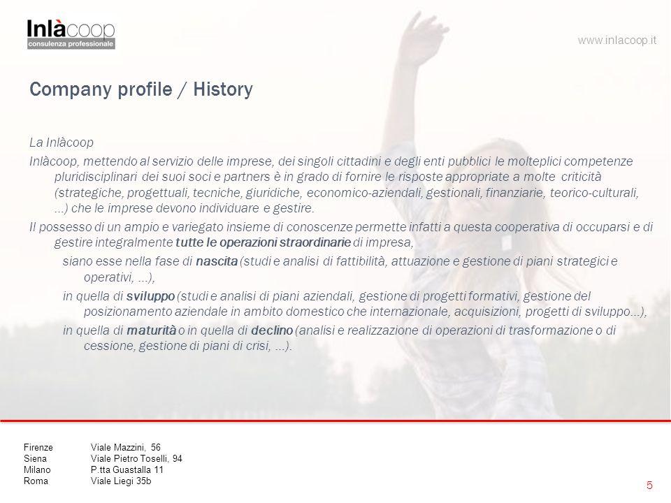 Company profile / History La Inlàcoop Inlàcoop, mettendo al servizio delle imprese, dei singoli cittadini e degli enti pubblici le molteplici competen