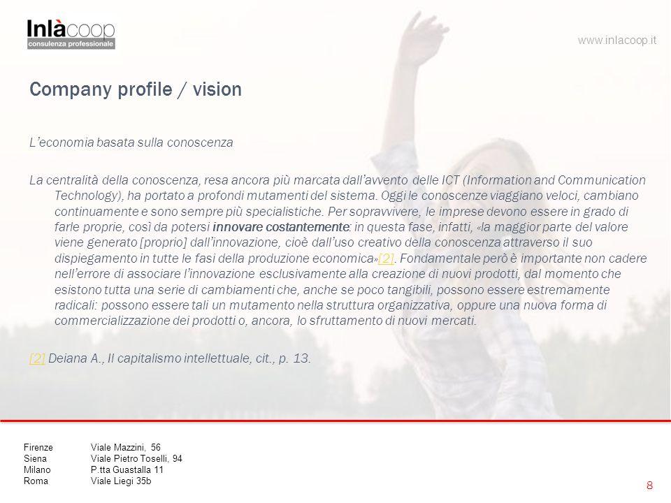 Company profile / vision L'economia basata sulla conoscenza Intesa in questo senso ampio , l'innovazione all'interno di un'impresa è un processo profondamente influenzato dal sistema sociale all'interno del quale essa è situata.