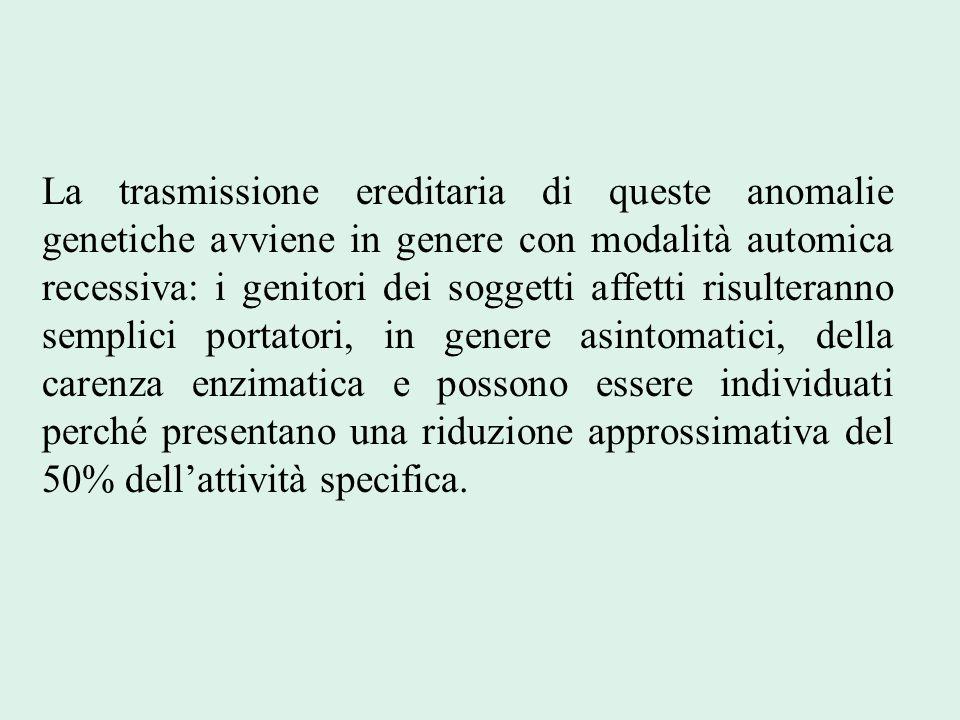 La trasmissione ereditaria di queste anomalie genetiche avviene in genere con modalità automica recessiva: i genitori dei soggetti affetti risulterann