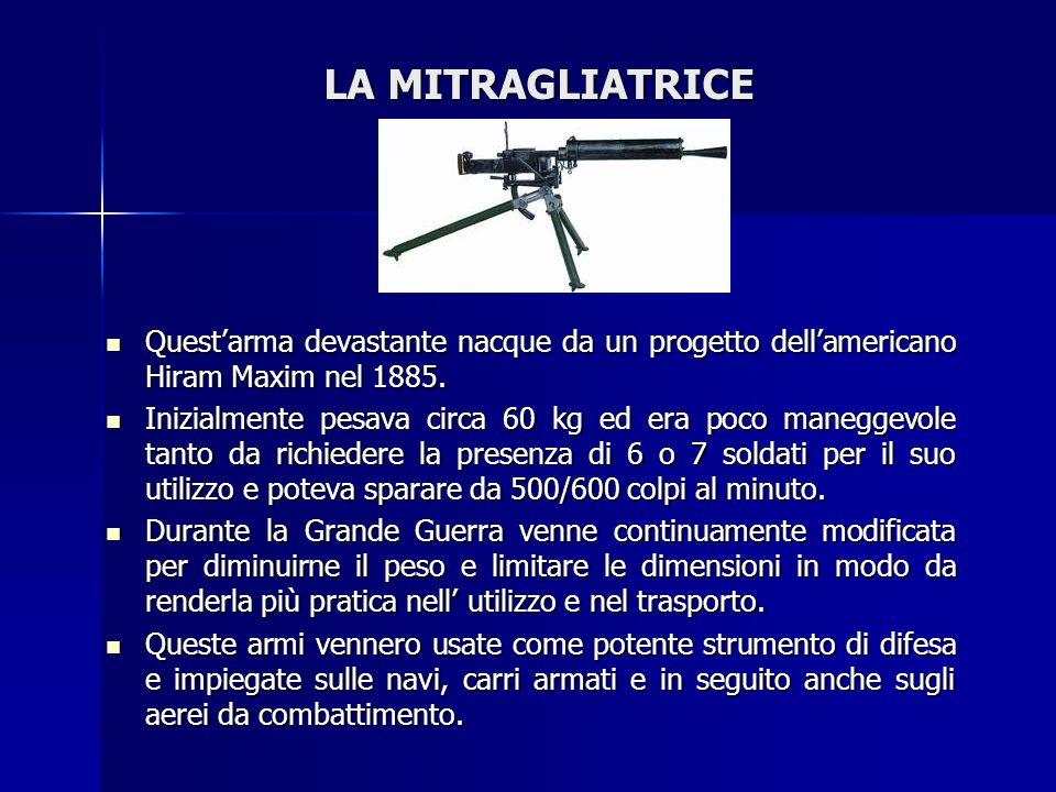 LA MITRAGLIATRICE Quest'arma devastante nacque da un progetto dell'americano Hiram Maxim nel 1885. Quest'arma devastante nacque da un progetto dell'am