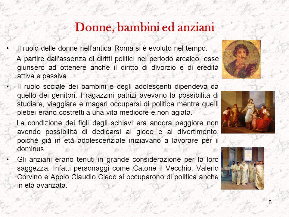 4 Le classi sociali La società a Roma era divisa in tre classi sociali principali: l'aristocrazia, la plebe e gli schiavi. L'aristocrazia era formata