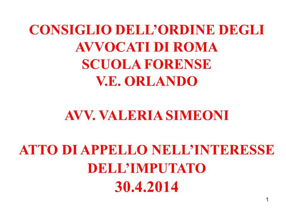 1 CONSIGLIO DELL'ORDINE DEGLI AVVOCATI DI ROMA SCUOLA FORENSE V.E.