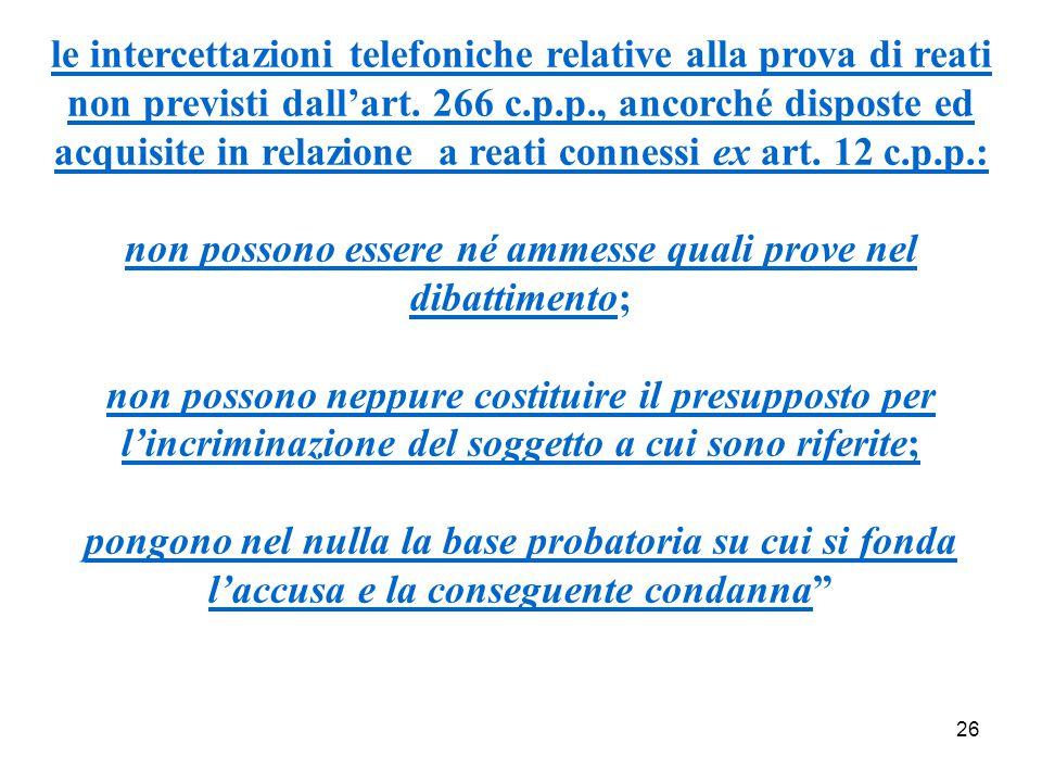 26 le intercettazioni telefoniche relative alla prova di reati non previsti dall'art.