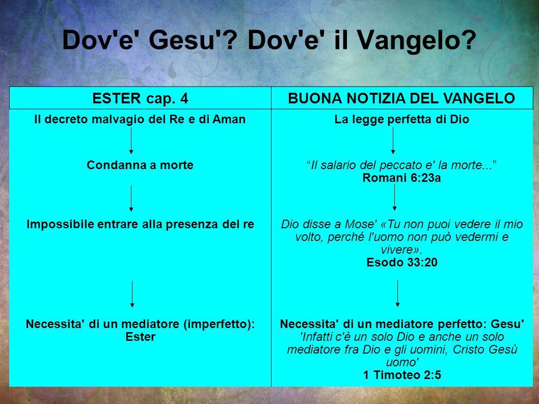"""Dov'e' Gesu'? Dov'e' il Vangelo? ESTER cap. 4BUONA NOTIZIA DEL VANGELO Il decreto malvagio del Re e di AmanLa legge perfetta di Dio Condanna a morte""""I"""