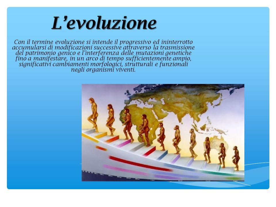 Con il termine evoluzione si intende il progressivo ed ininterrotto accumularsi di modificazioni successive attraverso la trasmissione del patrimonio