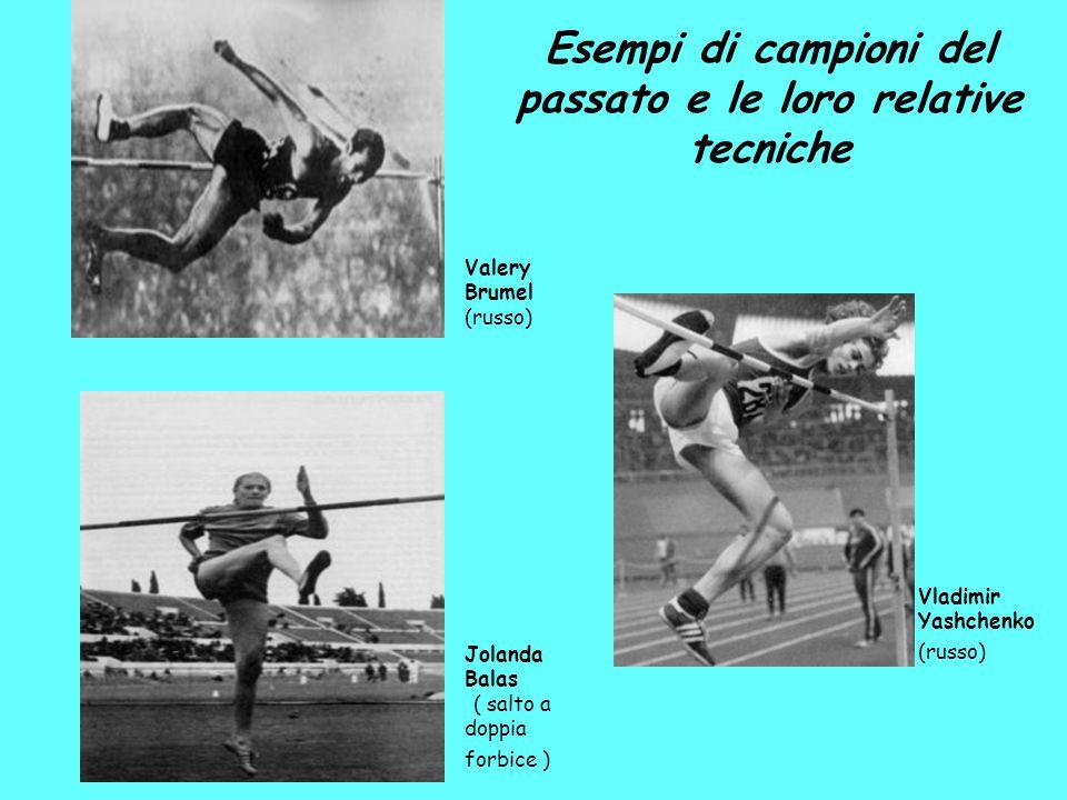 Valery Brumel (russo) Vladimir Yashchenko (russo) Jolanda Balas ( salto a doppia forbice ) Esempi di campioni del passato e le loro relative tecniche