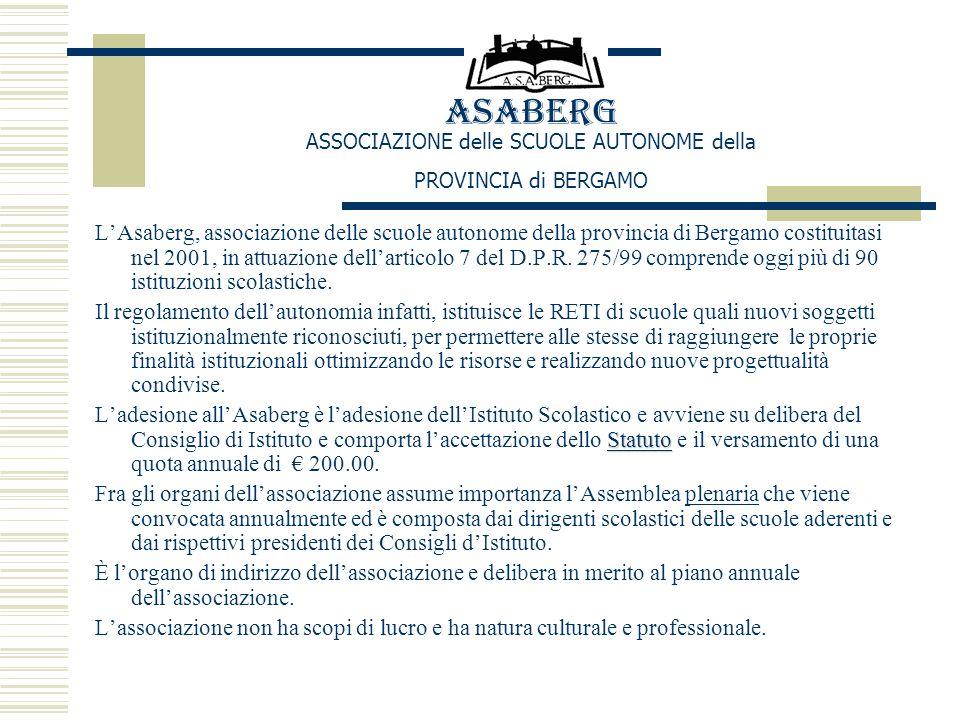 ASABERG ASSOCIAZIONE delle SCUOLE AUTONOME della PROVINCIA di BERGAMO L'Asaberg, associazione delle scuole autonome della provincia di Bergamo costituitasi nel 2001, in attuazione dell'articolo 7 del D.P.R.