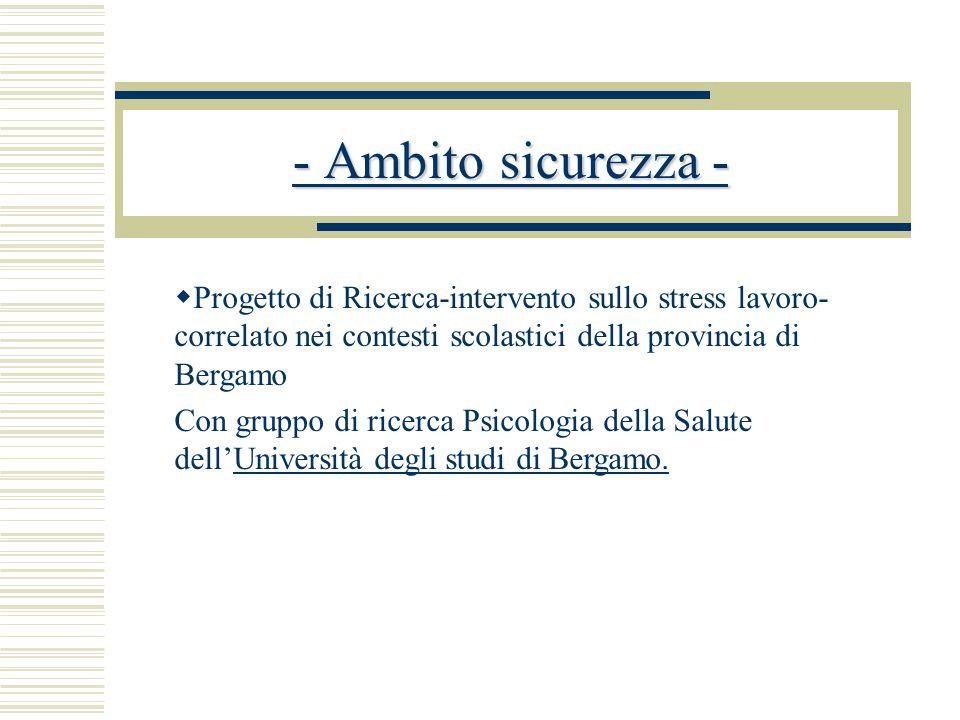  Progetto di Ricerca-intervento sullo stress lavoro- correlato nei contesti scolastici della provincia di Bergamo Con gruppo di ricerca Psicologia della Salute dell'Università degli studi di Bergamo.