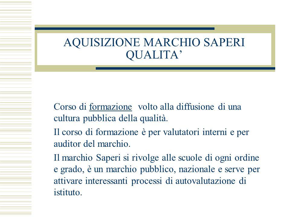 AQUISIZIONE MARCHIO SAPERI QUALITA' Corso di formazione volto alla diffusione di una cultura pubblica della qualità.