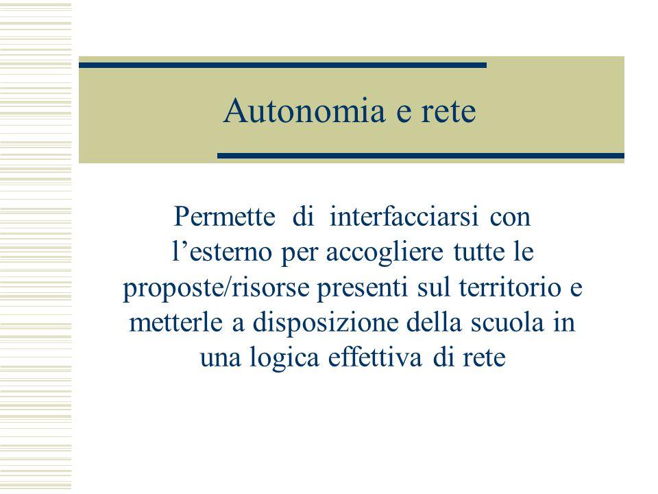Autonomia e rete Permette di interfacciarsi con l'esterno per accogliere tutte le proposte/risorse presenti sul territorio e metterle a disposizione della scuola in una logica effettiva di rete