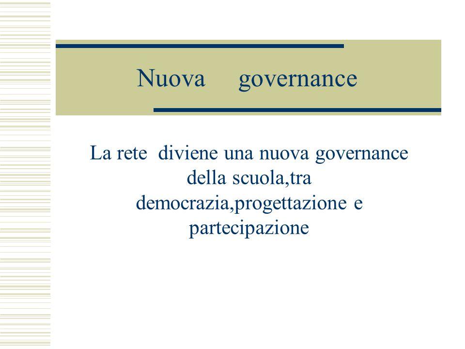 Nuova governance La rete diviene una nuova governance della scuola,tra democrazia,progettazione e partecipazione