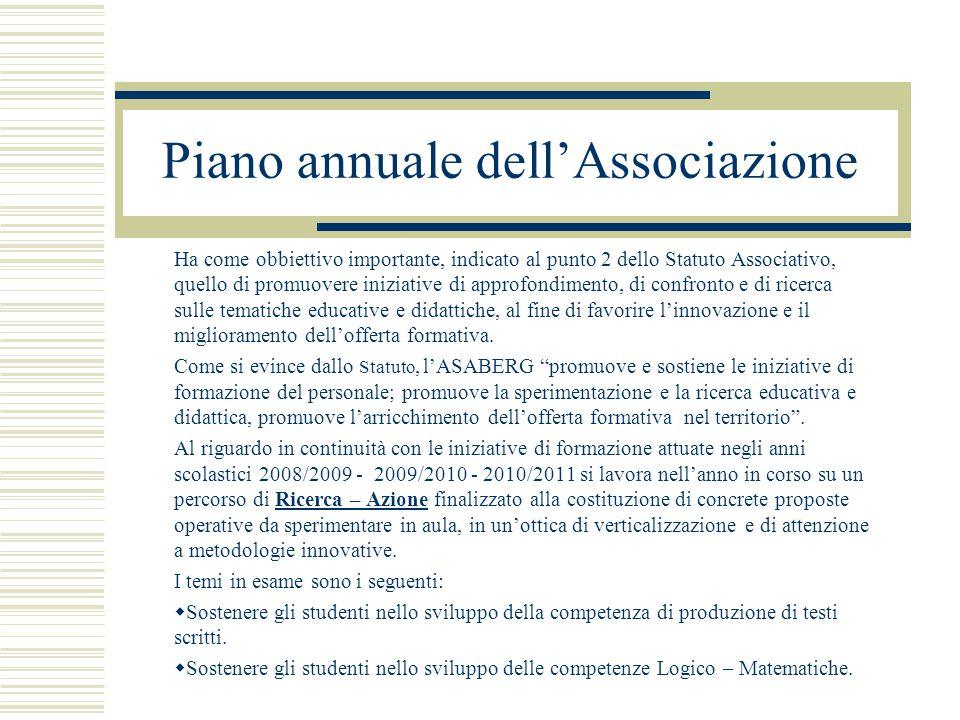 Piano annuale dell'Associazione Ha come obbiettivo importante, indicato al punto 2 dello Statuto Associativo, quello di promuovere iniziative di appro