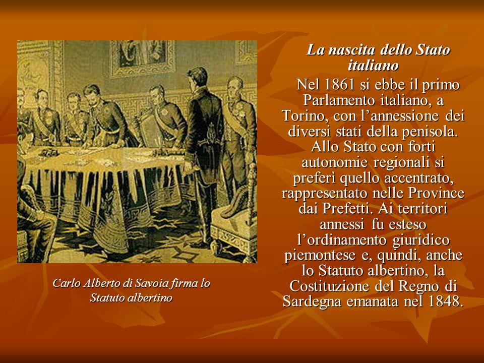 La nascita dello Stato italiano La nascita dello Stato italiano Nel 1861 si ebbe il primo Parlamento italiano, a Torino, con l'annessione dei diversi