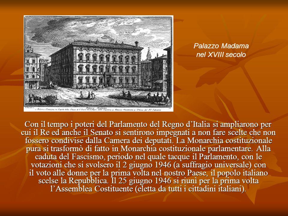 Con il tempo i poteri del Parlamento del Regno d'Italia si ampliarono per cui il Re ed anche il Senato si sentirono impegnati a non fare scelte che no