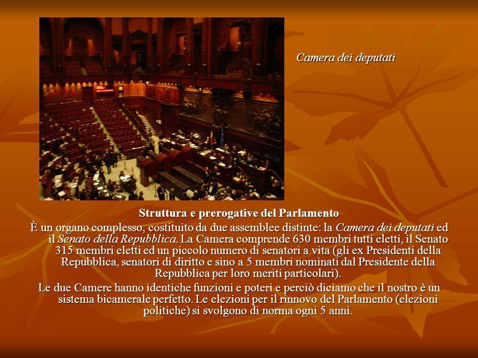 Struttura e prerogative del Parlamento È un organo complesso, costituito da due assemblee distinte: la Camera dei deputati ed il Senato della Repubbli