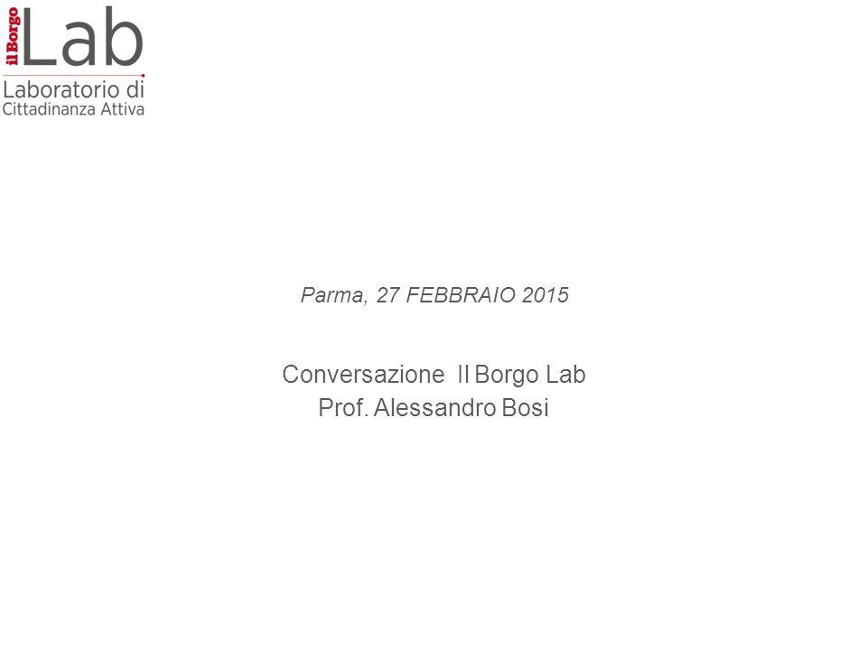 Parma, 27 FEBBRAIO 2015 Conversazione Il Borgo Lab Prof. Alessandro Bosi