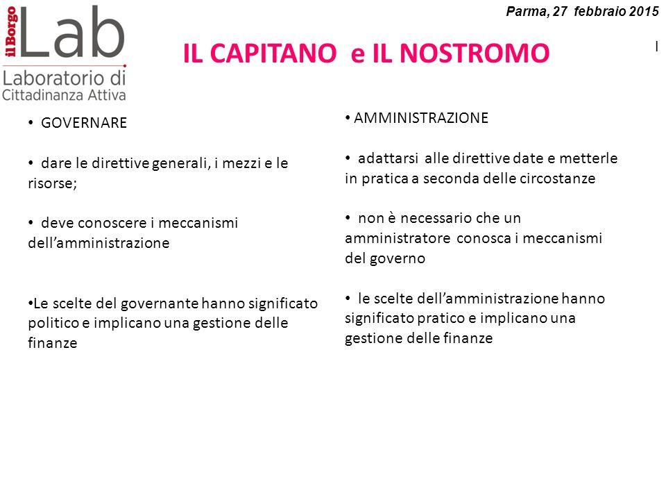 Parma, 27 febbraio 2015 I IL CAPITANO e IL NOSTROMO GOVERNARE dare le direttive generali, i mezzi e le risorse; deve conoscere i meccanismi dell'ammin