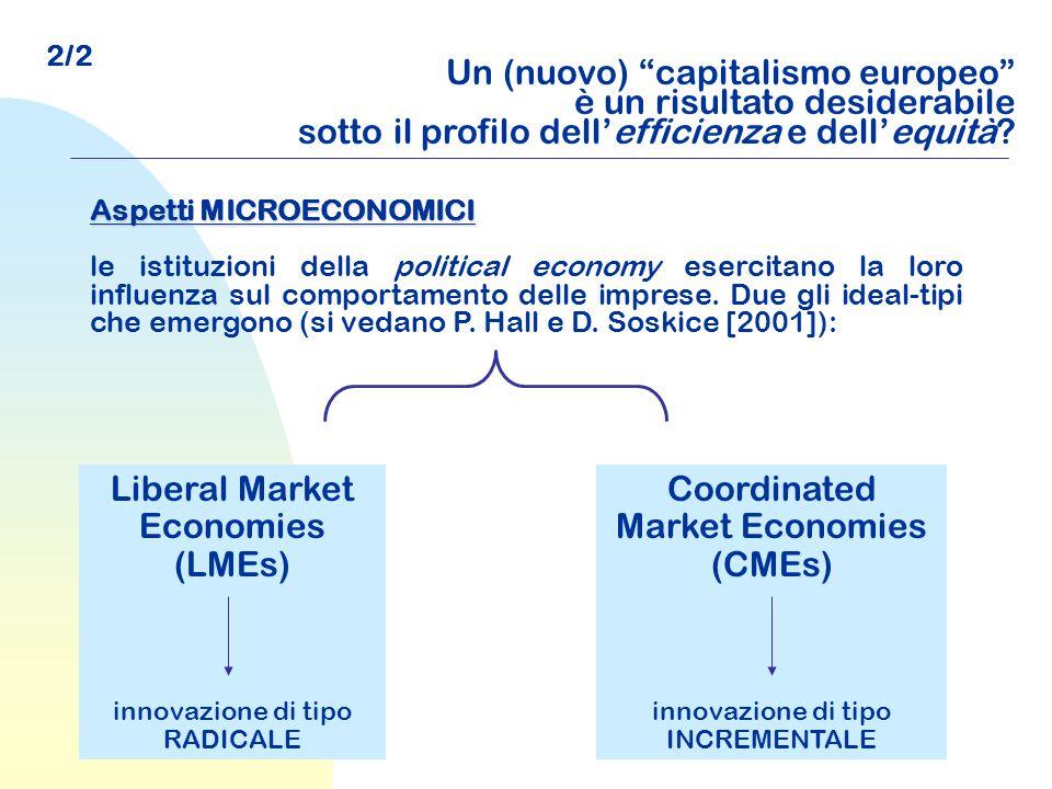 """Un (nuovo) """"capitalismo europeo"""" è un risultato desiderabile sotto il profilo dell'efficienza e dell'equità? Aspetti MICROECONOMICI le istituzioni del"""