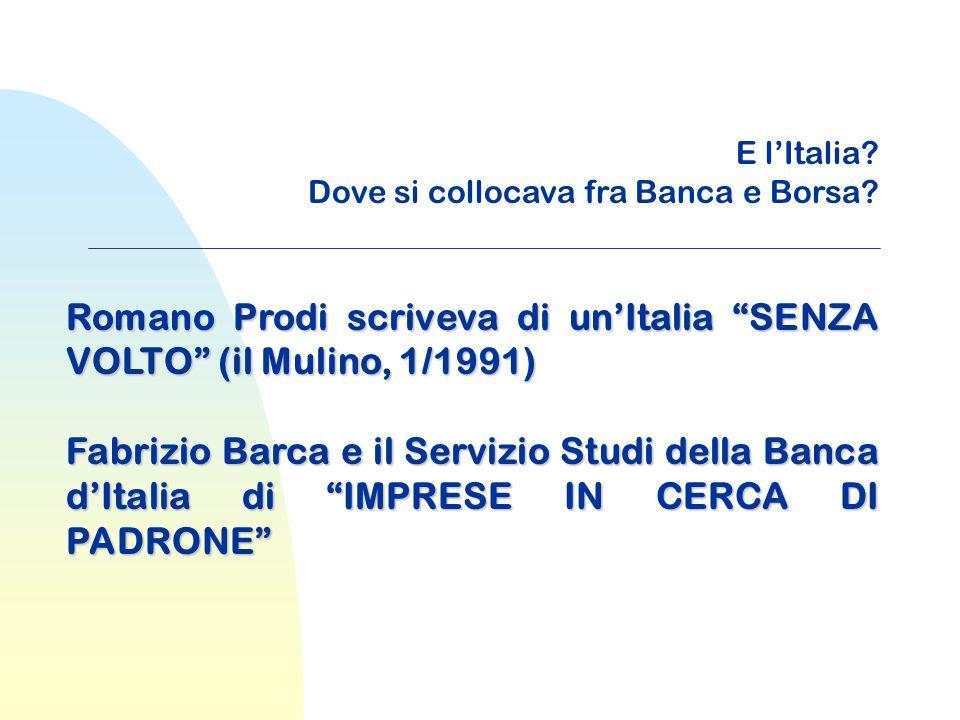 """E l'Italia? Dove si collocava fra Banca e Borsa? Romano Prodi scriveva di un'Italia """"SENZA VOLTO"""" (il Mulino, 1/1991) Fabrizio Barca e il Servizio Stu"""