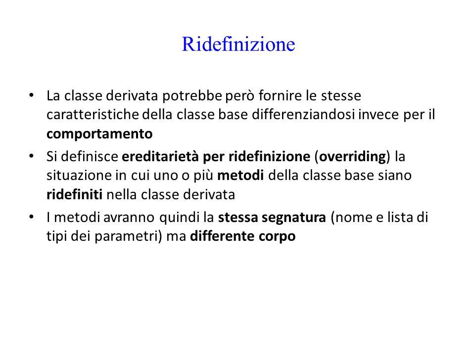 Ridefinizione La classe derivata potrebbe però fornire le stesse caratteristiche della classe base differenziandosi invece per il comportamento Si def