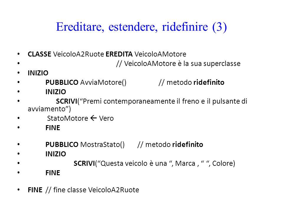 Ereditare, estendere, ridefinire (3) CLASSE VeicoloA2Ruote EREDITA VeicoloAMotore // VeicoloAMotore è la sua superclasse INIZIO PUBBLICO AvviaMotore()