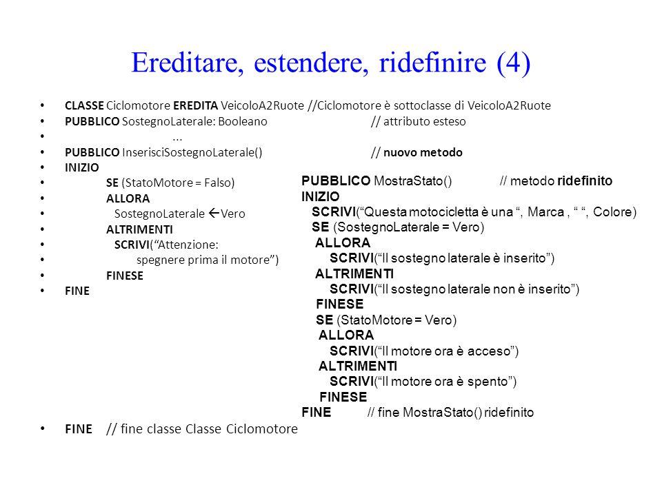 Ereditare, estendere, ridefinire (4) CLASSE Ciclomotore EREDITA VeicoloA2Ruote //Ciclomotore è sottoclasse di VeicoloA2Ruote PUBBLICO SostegnoLaterale