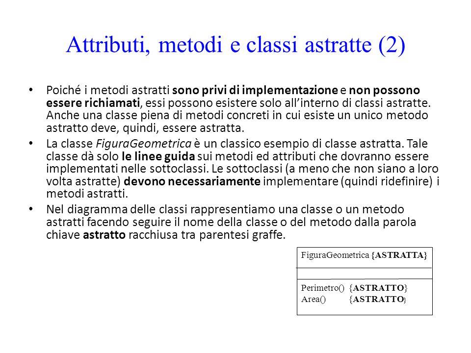 Attributi, metodi e classi astratte (2) Poiché i metodi astratti sono privi di implementazione e non possono essere richiamati, essi possono esistere