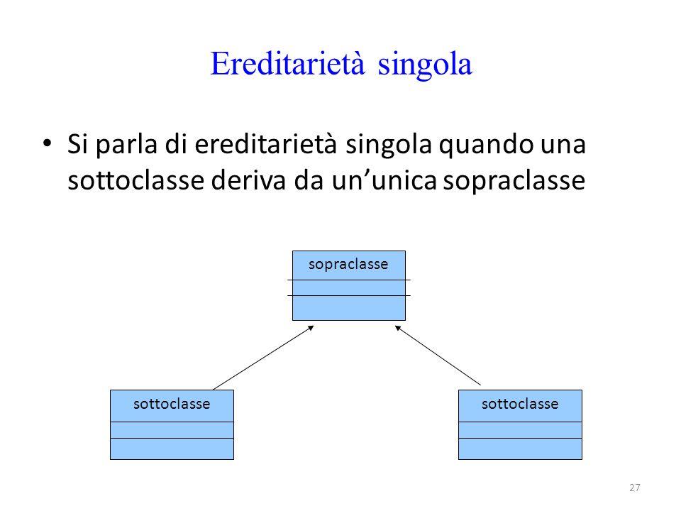 27 Ereditarietà singola Si parla di ereditarietà singola quando una sottoclasse deriva da un'unica sopraclasse sopraclasse sottoclasse
